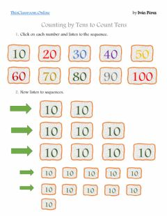 Interactive worksheet Counting by Tens to Add Tens and Ones