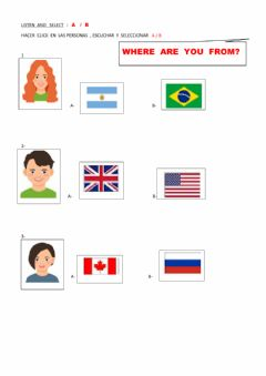 Interactive worksheet Where  are  yoy   from ?