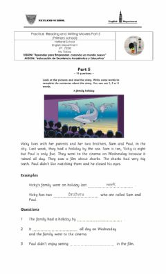 Ficha interactiva Movers Practice Reading and Writing Part 5