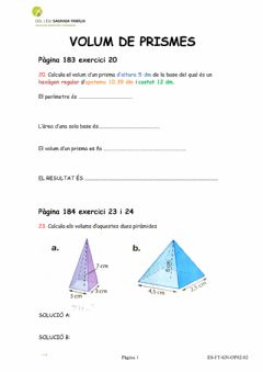 Interactive worksheet VOLUM de prismes
