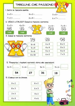 Interactive worksheet Tabelline cha passione