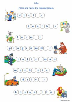 Interactive worksheet Jobs fill in and name the letters