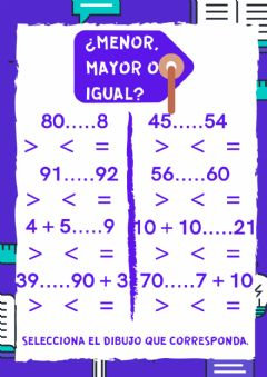 Interactive worksheet ¿Mayor, menor, igual?