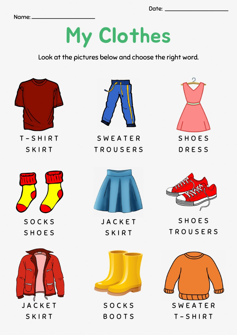 Pdf Online Worksheet My Clothes