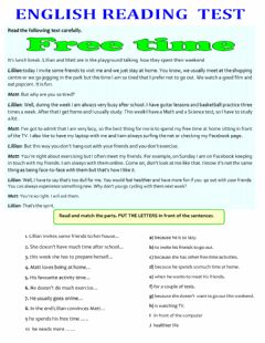 Interactive worksheet Reading exercise : free time