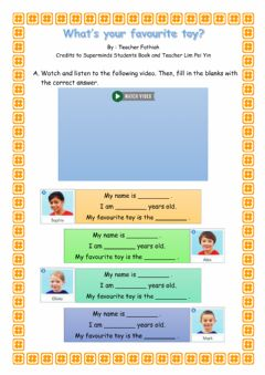 Interactive worksheet Unit 2 : Let's play! (What's your favourite toy?)