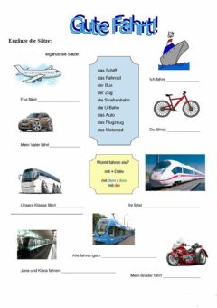 Interactive worksheet Die Transportmittel