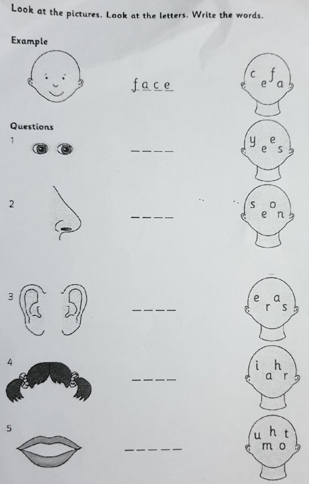 Look At The Pictures Look At The Letters Write The Words 2 Worksheet