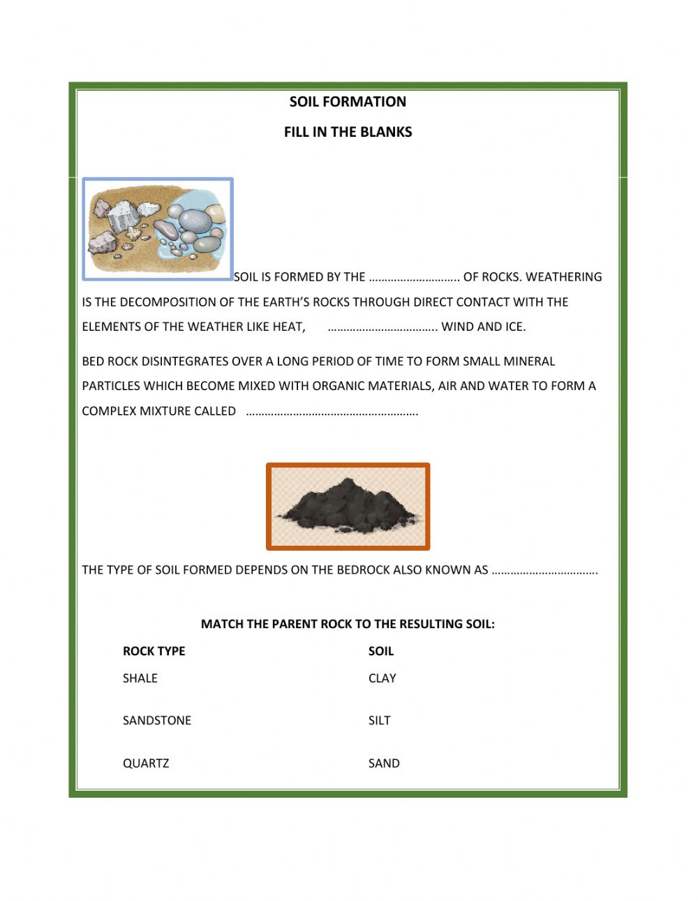 Soil formation interactive worksheet