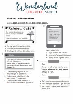 Interactive worksheet Mid term test Reading Ket