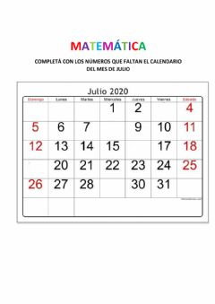 Interactive worksheet Calendario del mes de julio