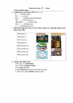 Interactive worksheet Second form