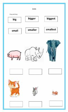 Interactive worksheet Big, small, fast, and slow.