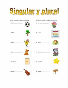 Interactive worksheet Singular y plural