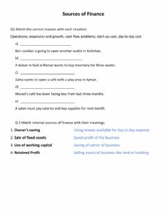 Interactive worksheet Financial Sources