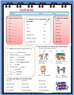 Interactive worksheet The Verb To Be