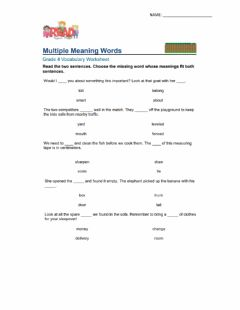 Interactive worksheet Multiple Meaning Words
