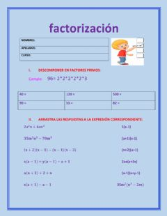 Interactive worksheet Factorizacón