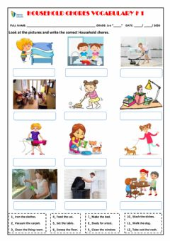 Interactive worksheet Household chores vocabulary