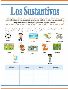 Interactive worksheet Los sustantivos