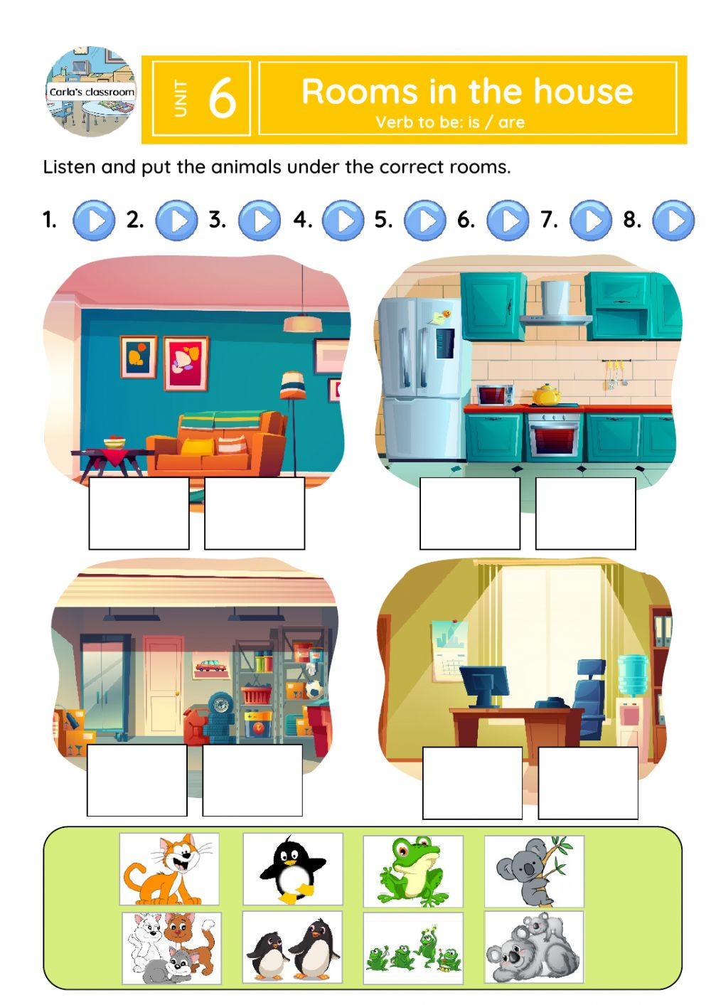 Rooms in the house (verb be: is-are) worksheet