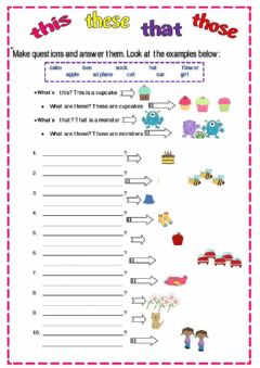 Interactive worksheet Demostrative Adjectives (Questions)