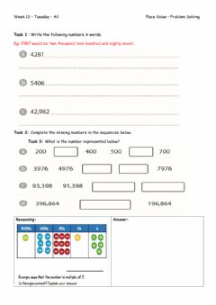 Interactive worksheet Week 13 - Tuesday - Place Value