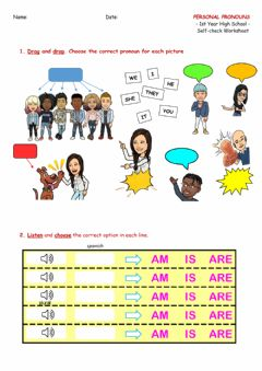 Ficha interactiva 1st - Subject Pronouns