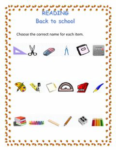 Interactive worksheet School subjects and school material