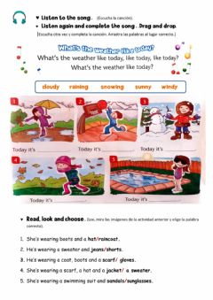Interactive worksheet Whats the weather like? What are you wearing?