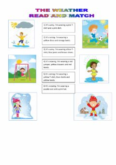 Interactive worksheet Weather and Clothes - Match
