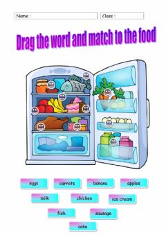 Interactive worksheet Food in Fridge