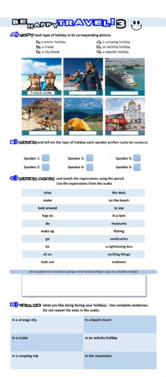Interactive worksheet Be happy, Travel! Part 3