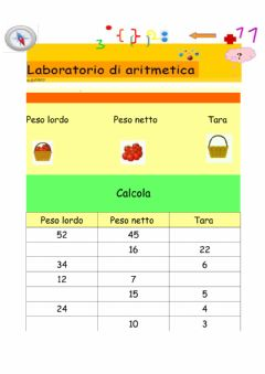 Interactive worksheet Peso lordo netto e tara  n.1