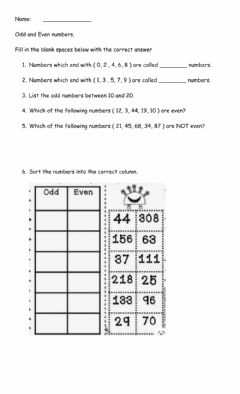 Interactive worksheet Odd and Even Numbers