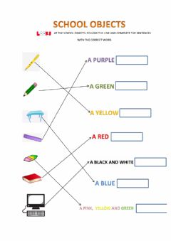 Interactive worksheet More school objects