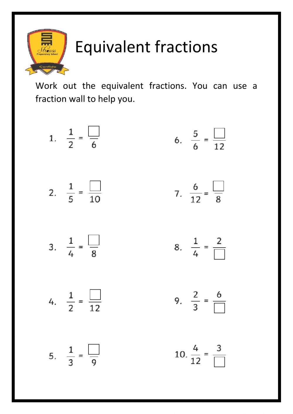 Equivalent Fractions interactive exercise