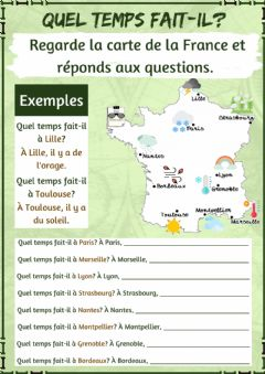 Interactive worksheet Quel temps fait-il dans la France?
