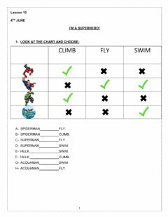 Interactive worksheet Superheroes