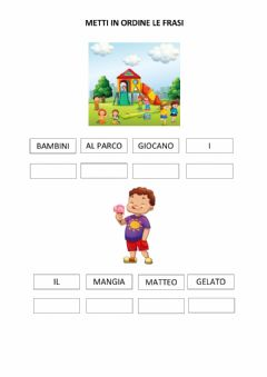 Interactive worksheet Metti in ordine le frasi