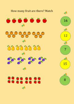 Interactive worksheet Fruit and numbers