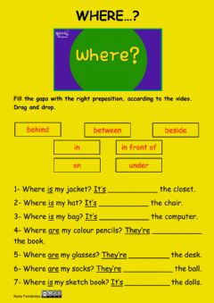Interactive worksheet Where...?Prepositions of place