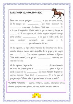 Interactive worksheet Granjero chino - ficha 3