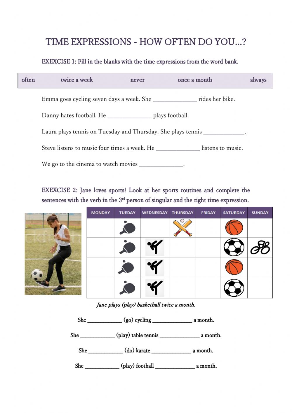 Times expressions frequency worksheet