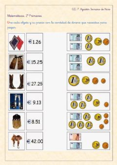 Interactive worksheet Monedas y billetes de euro