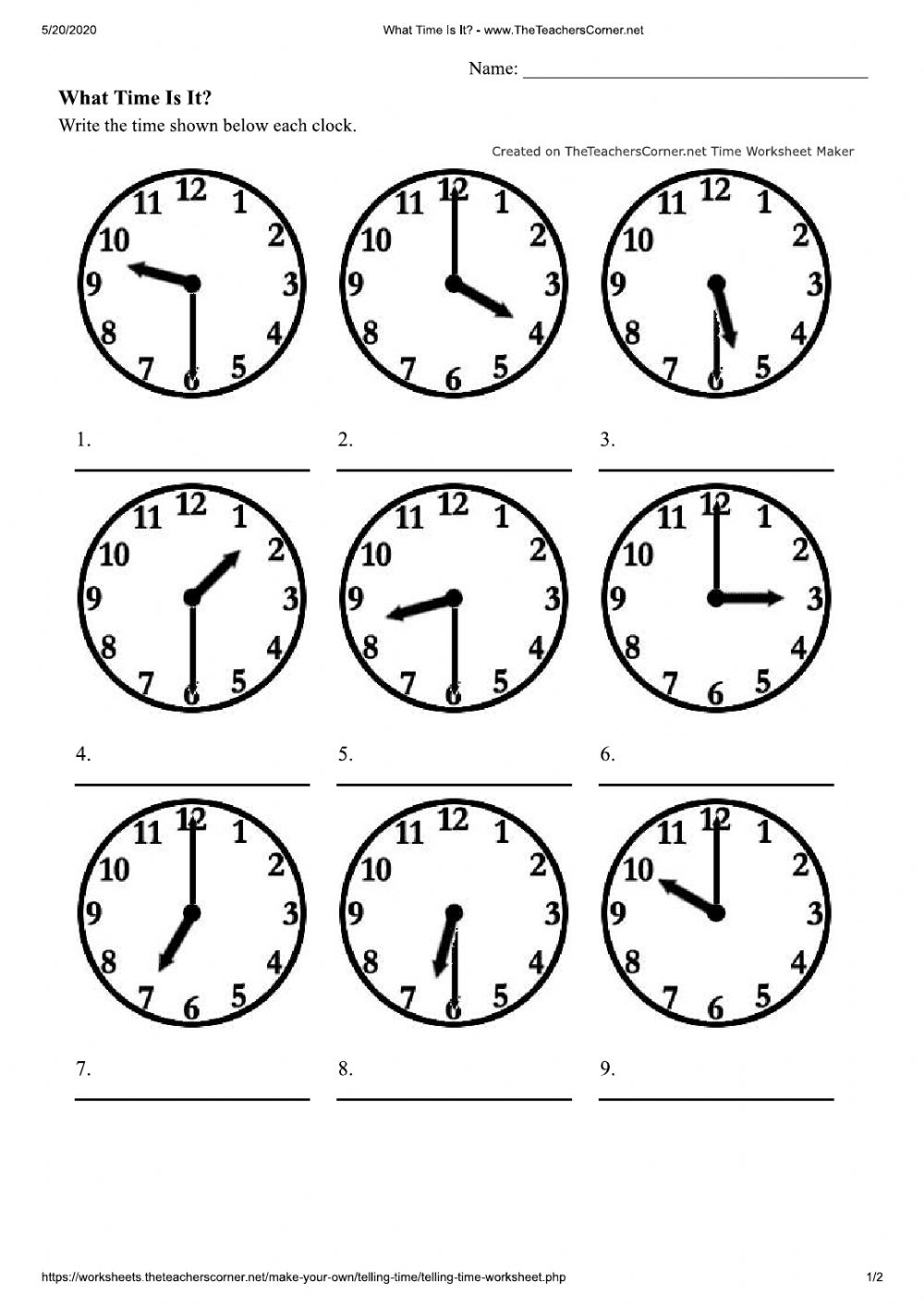 What Time Is It - Half Hours worksheet