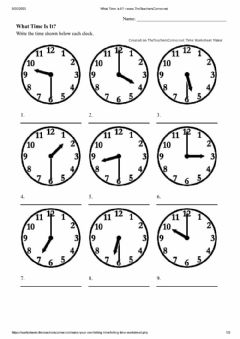 Interactive worksheet What Time Is It - Half Hours