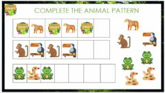 Interactive worksheet Complete the patterns. Jungle animals