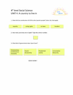 Interactive worksheet 4th Level Social Science Unit 4