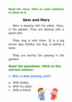 Interactive worksheet Sam and Amy. Reading comprehension.